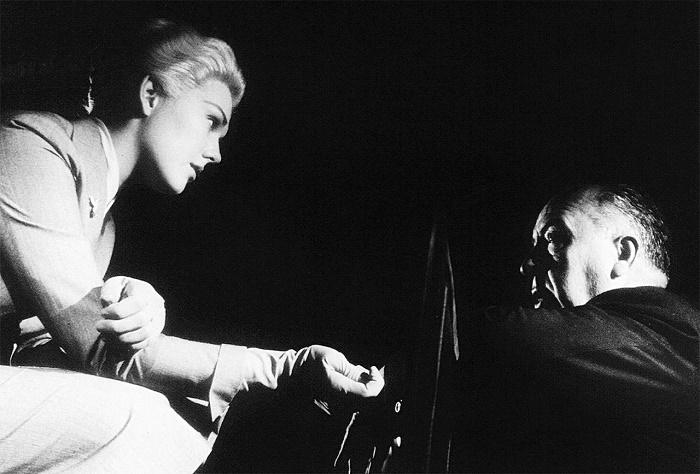 Kim Novak and Hitchcock during the filming of Vertigo, 1958