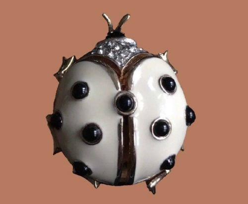 Lady Bug brooch, cream white enamel, rhinestones