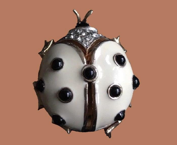 Lady Bug brooch, cream white enamel, rhinestones