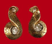 Large earrings, engraved gold tone swirls with clear crystals