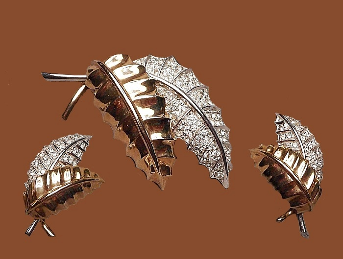 Leafy Spray Brooch and Earrings Set - two tone with Rhinestone Pave