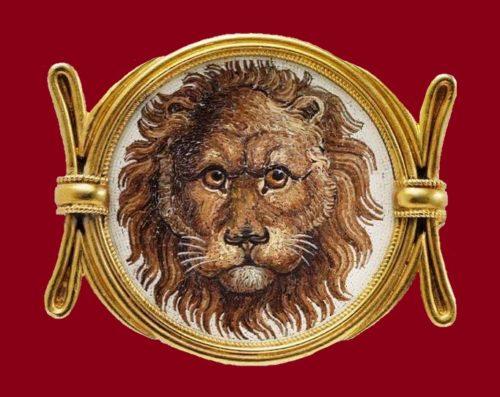 Lion's head brooch, 19th century