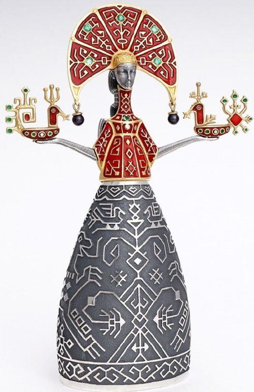 Maiden. Decoration of the interior. Silver, gilding, hot enamel, emeralds, diamonds, black pearl