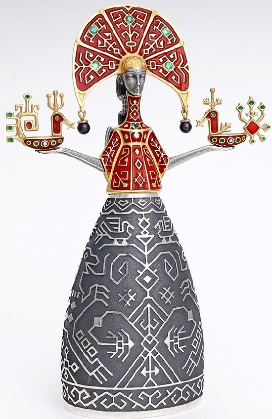 Maiden. Decoration of the interior. Silver, gilding, hot enamel, emeralds, diamonds, black pearl