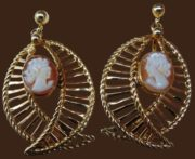 Marked Van Dell 1-20 12K.G.F., 1950s earrings with cameo, gold filled, ivory