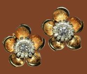 Marque White Rhinestones & Etched Gold Tone Flower Clip Earrings