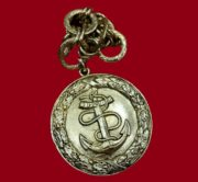 Medallion Anchor with chain, vintage pendant of the 1980s. Metal, marked. Size 6 cm