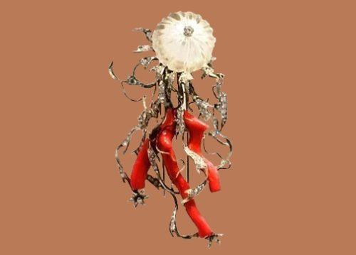Medusa brooch. Yellow, white gold, diamonds, rhinestone, coral. 1950s