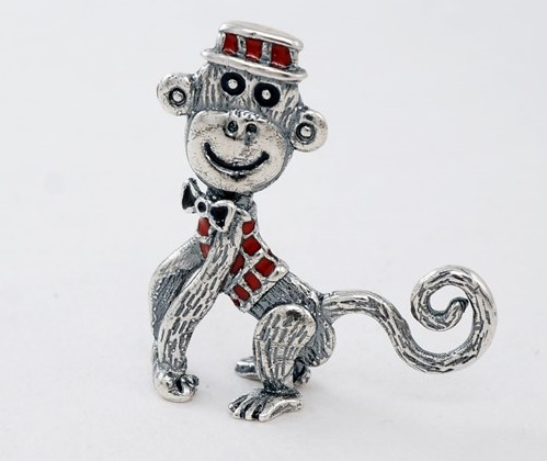 Monkey brooch. Silver, hot enamel. Vera Palkina