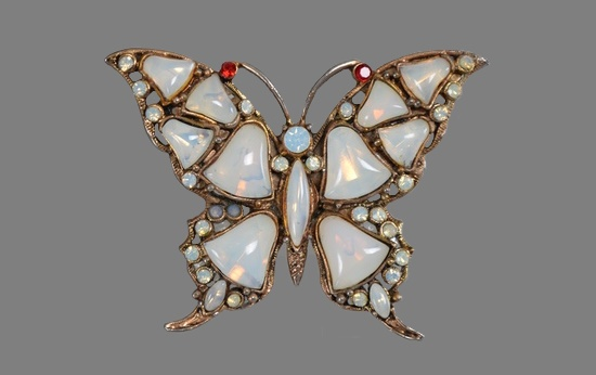 Moon butterfly brooch. 1960s. Silver tone metal, faux moonstone cabochons, rhinestones