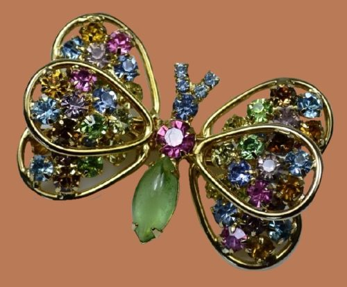 Multi-colored Rhinestone Butterfly Pin. 1940s