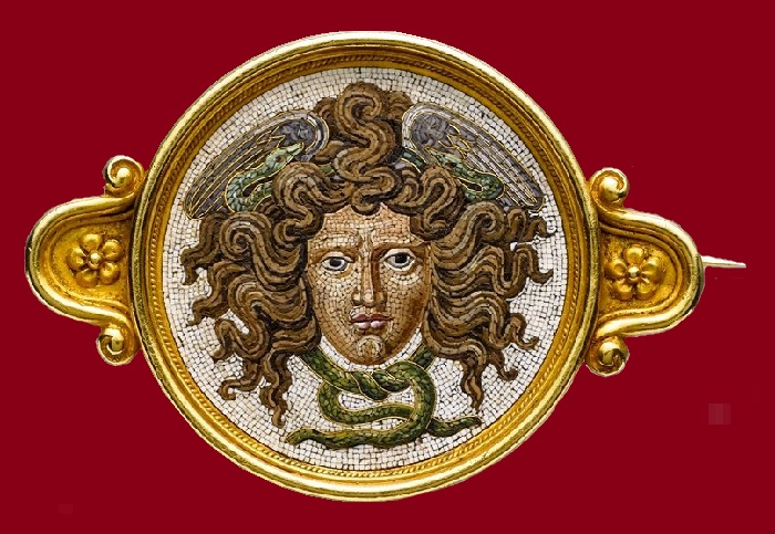 Mythological motif -head of Medusa, made in micromosaic technique. before 1888