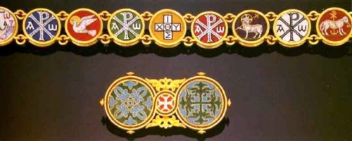Ornaments of gold with micro mosaics. 1870. Nine medallions dedicated to Christian symbols in the Byzantine style. On the brooches the mosaic pattern underlined with a gold thread