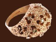 Pandora vintage ring. Materials - sterling silver, gilding, rock crystal. length 2.7 cm, width 2.2 cm