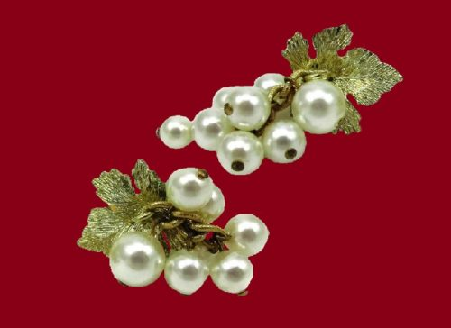 Pearl Cluster earrings, 1950s. Gold tone metal, faux pearl