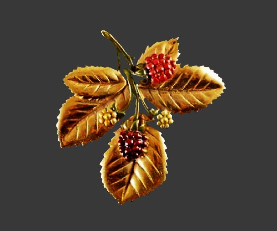Raspberry brooch. Gold tone, enamel, art glass