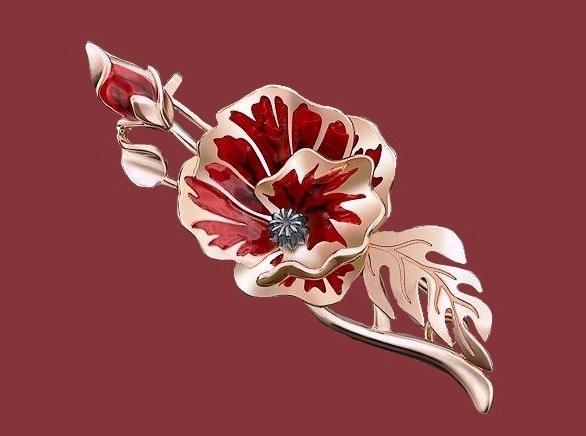 Poppy brooch, silver tone metal, enamel