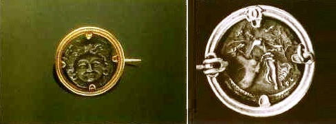 Portrait of Plotius Plancus on gold brooch. Circa 1865. A picture of the reverse side (with an increase) confirms the work by by Castellani, and greatly raises the cost of the brooch