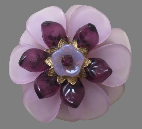 Purple flower brooch, made of a frosted plastic, glass, purple rhinestones
