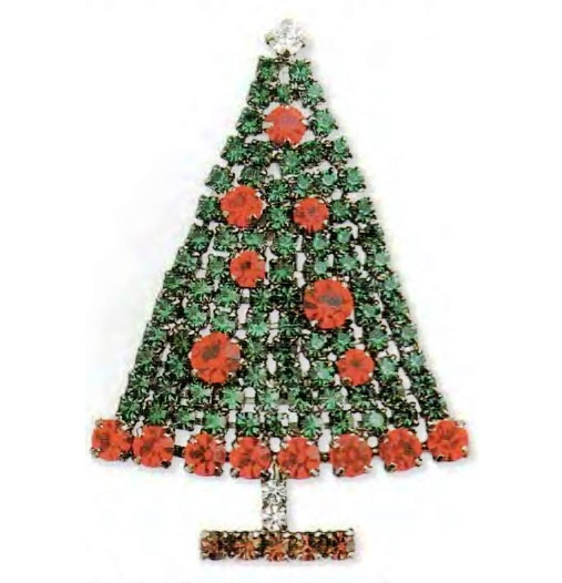 Rhinestones Christmas brooch, emerald and rock crystal. The 1990s. length 7cm £ 25-30 CRIS