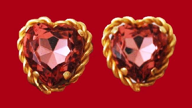 Red heart earrings. 1990s. 3cm x 3 cm. Moschino Bijoux costume jewellery