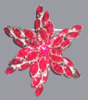 Red star brooch, metal colored glass