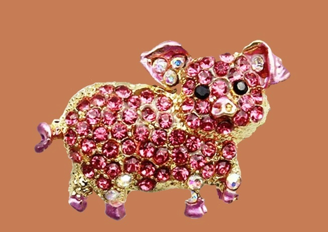 Rhinestone pig brooch