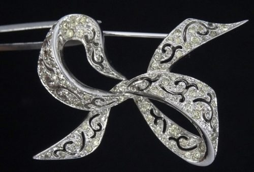 Rhodium Plated rhinestones, ribbon bow brooch