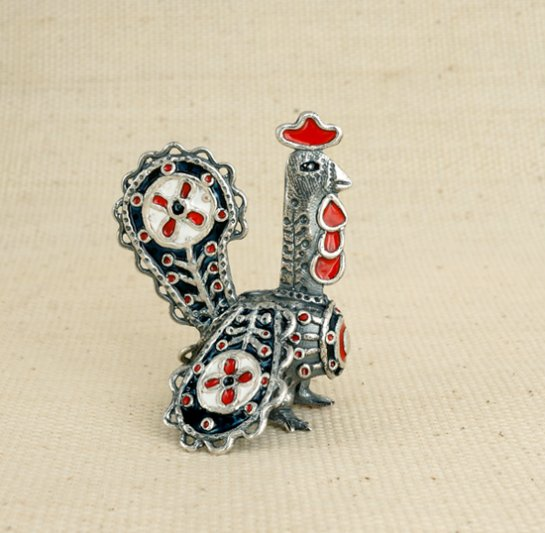 Rooster brooch. Silver, hot enamel. Author Vera Palkina