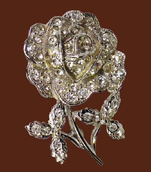 Rose rhinestone pin
