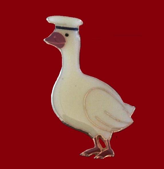Sailor Goose pin. Metal, enamel
