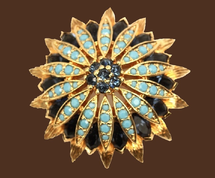 Sapphire and Turquoise Blue Stones Flower Design brooch