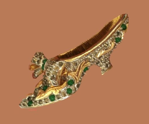 Shoe Antique brooch. Silver with gold leaf with lined vintage rhinestones. 1940s
