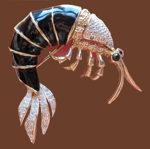 Shrimp brooch metal, enamel, transparent crystals, crystals, gilding