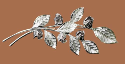 Silver tone textured Roses Branch brooch, 1960s