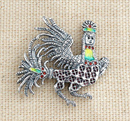 Sirin brooch. Silver, hot enamel. Author Vera Palkina