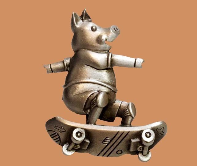 Skateboarder JJ brooch