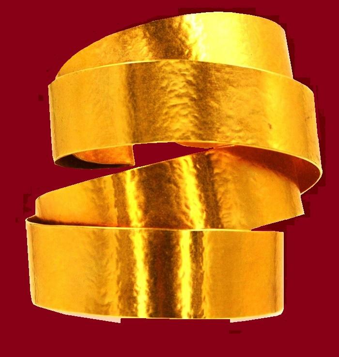 Spiral bracelet bangle, 24k gold plate