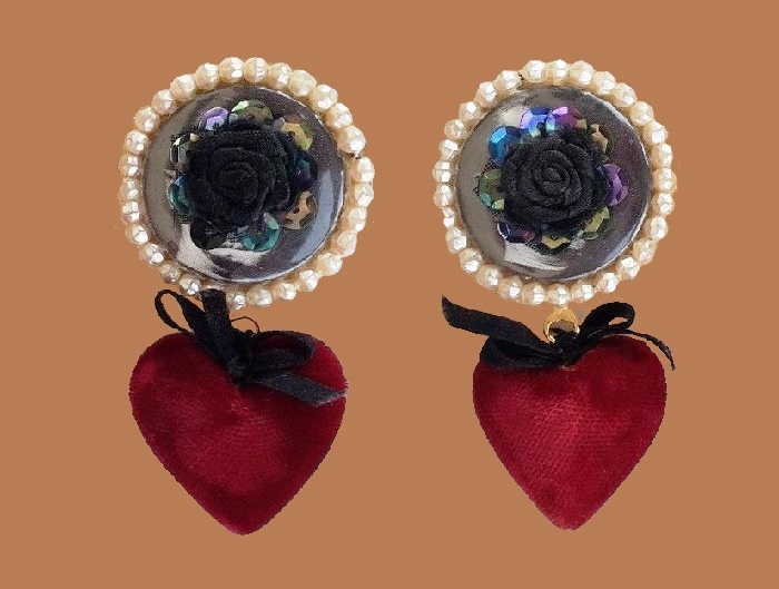 St. Valentine's earclips. Red rhinestone, faux pearl