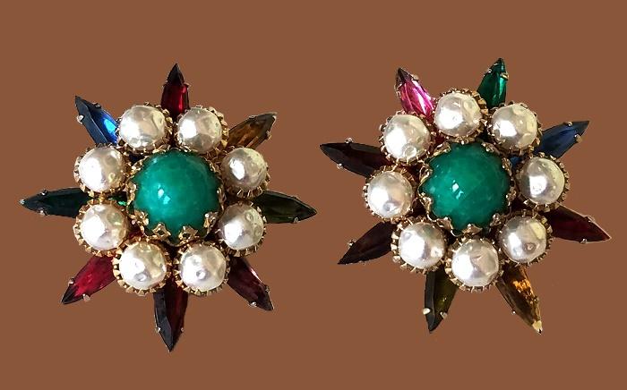 Starburst Earrings, 1960s. Rhinestones, gold tone metal