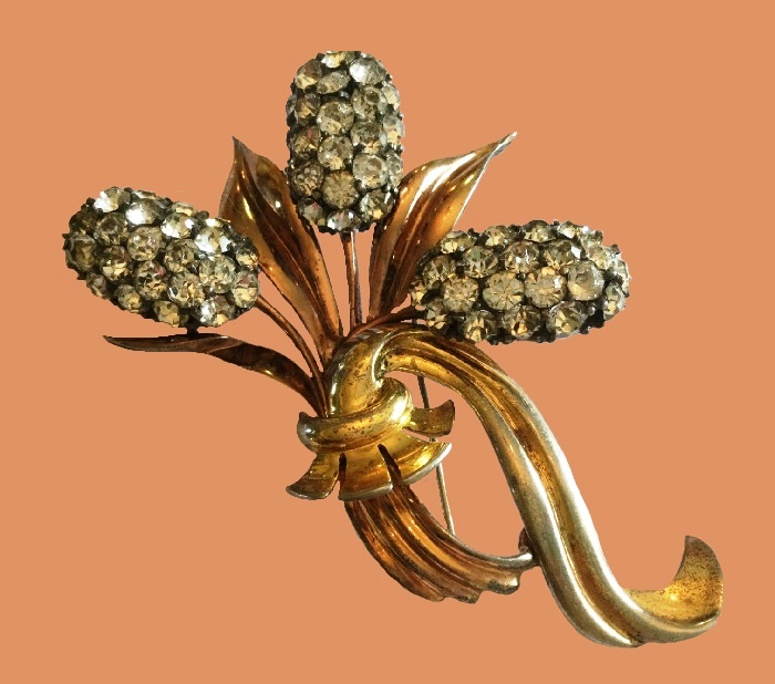 Sterling with gold wash flower brooch
