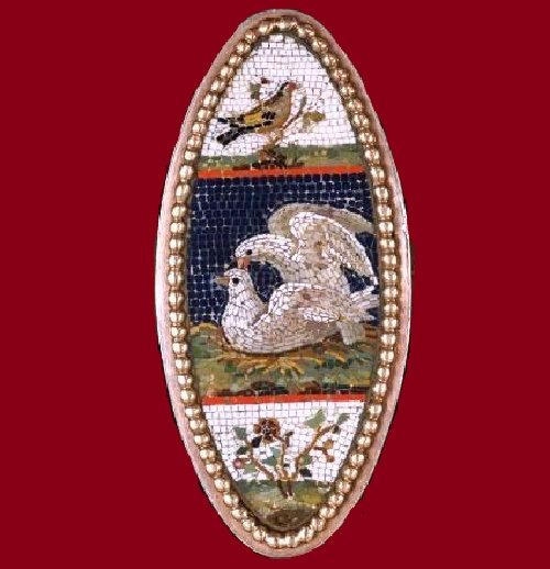 Stunning jewelry piece with micromosaic, ring, circa 1850