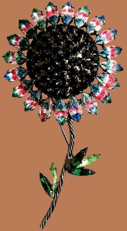 Sunflower brooch, 'The Secret Garden Collection'. Ruthenium-coated metal, Swarovski colored rock crystal. The end of the 1990s. length 12 cm £ 50-70 CRIS