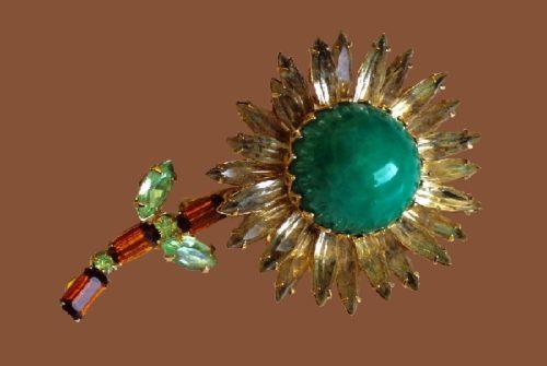 Sunflower brooch. 1960s