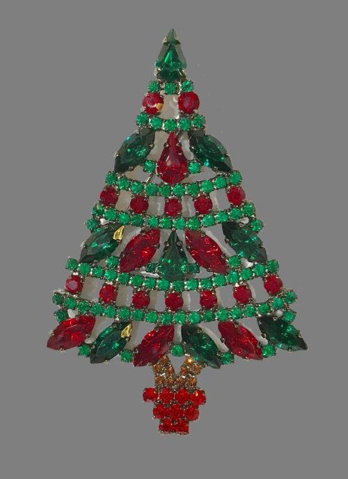 Swarovski crystal, jewelry alloy, Christmas tree brooch