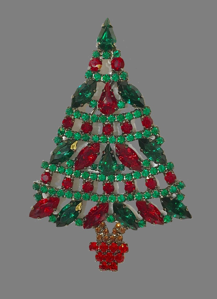 Swarovski crystal, jewelry alloy, Christmas tree brooch ...