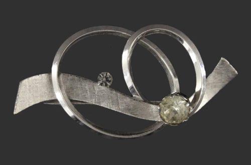 Swirl Brooch. Sterling silver, rhinestone