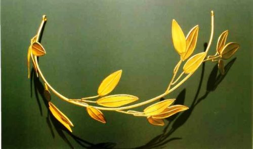 Leaf golden diadem by Castellani's work signed by two 'C'. 1870