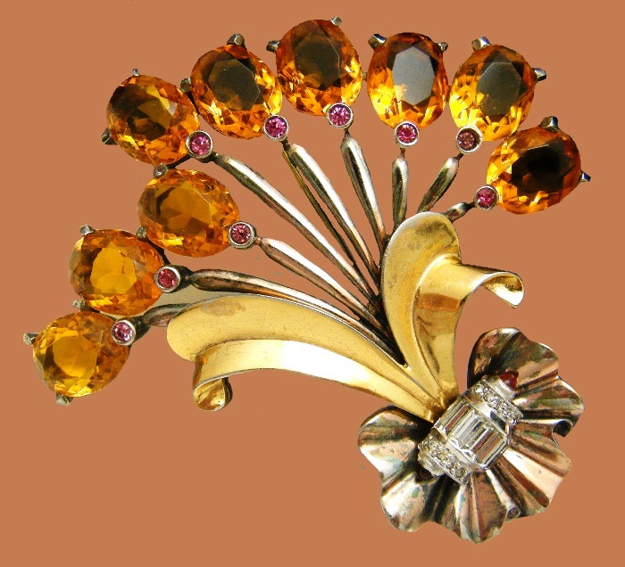 Topaz Glass Rhinestone Bouquet brooch