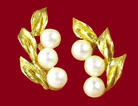 Costume Jewelry,Gift for Her. Delicate Wedding Earrings Vintage RICHELIEU Earrings Cream White Teardrop Gold Tone Earrings